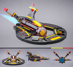 Disc (Milan Sekiz) Tags: lego blacktron black space yellow red trans ship