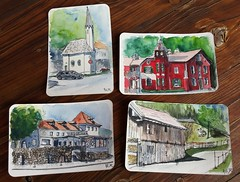 4 postcards from Kiefersfelden (Jutta Richter) Tags: draw drawing watercolour watercolor aquarell ink postcardswap urbansketchers kiefersfelden heiligkreuz barn church kirche kapelle chapel skizzen sketch