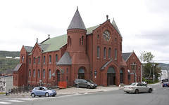 Church (Loops666) Tags: church gowerstreet united building architecture steeple red brick cars religion christianity atheism city stjohns