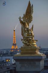 Opéra Tour eiffel (apparencephotos) Tags: opéra garnier palaisgarnier opéragarnier toureiffel eiffeltower paris sunset rooftop