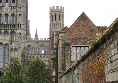 College wall and cathedral, Ely (Richard Holland) Tags: ely elycathedral cambridgeshire medieval gothic gothicarchitecture tower ecclesiastical cathedral