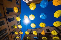 Umbrellas (R.Halfpaap) Tags: la seynesurmer france umbrellas provence art installation yellow blue sky