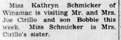1952 - Kathryn Schmicker visits Cirillos - Enquirer - 7 Aug 1952