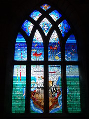 Piper Alpha Stained Glass Window (Ian Robin Jackson) Tags: stainedglass disaster sea aberdeen church colours sony zeiss piperalpha northsea scottishstainedglass memorial july summer dove eagle art window words oilrig piperalphadisaster scotland northseaoil oil well skylight oilwindow theoilindustrychapel kirkofstnicholasaberdeen arch alpha churches