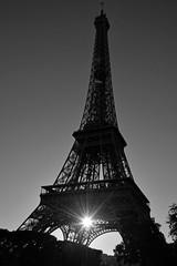 Paris (geraldineh.dutilly) Tags: sun eiffel tower paris sunset light black white