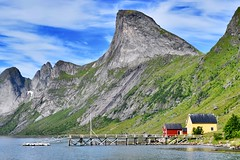 Lofoten Jetty (morston_max) Tags: mountains picturesque view boats jetty pier islands lofoten norway sea fjord