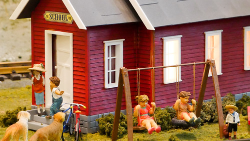 Miniature Schoolhouse Scene - Model Trains
