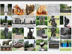 A COMPILATION OF PICTURES TAKEN AT THE NATIONAL ARBORETUM, STAFFORDSHIRE, ENGLAND (rossendale2016) Tags: neatly carved died dead engraved archived grounds immaculate clean remembered named people animals evacuees contributing regiments military acres area massive realistic lifesize artistic icons humbling provoking though iconic clever intricate fantastic sculptures stone monuments 1 one war world bronze statues memorials memorial compilation england arboretum national