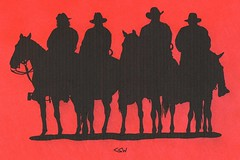 Welcoming Committee (Craig Walkowicz) Tags: cowboy desperado outlaw bandit robber horse equine horseback western oldwest wildwest silhouette red ccw