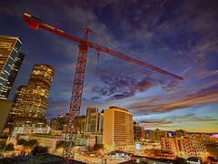 Cranes over downtown Denver at Sunset (uptownguydenver) Tags: denver colorado architecture architectural structures building edifice edifices commercialbuilding skyscraper residentialbuilding misccityview phaseone captureone xf iq3100 100mpclub cranes craneproject morning construction constructionequipment business capitalism commerce enterprise mercantilism trade industry usa