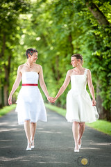 Together (grimaux.jordan) Tags: against all forever together nature path road way look smile happy happiness wives women girls lesbian gay homosexual trees handtohand hand wed wedding