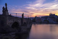Sunset in Prague (iosif.michael) Tags: sony a7 sun sunset magic light sky water clouds longexposure charlesbridge castle river prague europe travel city urban