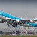 KLM 747-400 rocketing out of Amsterdam for LAX