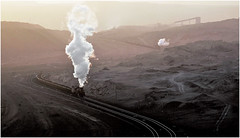 Hauling Pay Dirt (Welsh Gold) Tags: js locomotives coal train activity sunset sandaoling open cast mine xinjiang province china