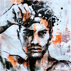 Turn Back (GRAFFMATT) Tags: art portrait man homme model fashion drawing painting orange white posca graffiti