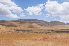 Namibian desertscape. (annick vanderschelden) Tags: namibia hardap naukluft mountains hills sand rocks arid semiarid desert vegetation grasses sky bluesky clouds sunlight hot soil dust bush cloud casting