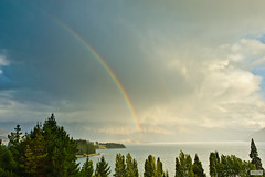 At the End of the Rainbow (The Hobbit Hole) Tags: nikon 2470mmf28g newzealand d700 rainbow lake wakatipu queenstown