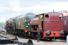 LMS 46233 and PS 2004 @ Tyseley Locomotive Works (ianjpoole) Tags: london midland scottish railways princess royal coronation class 46233 duchess sutherland peckett sons 2004 percy tyseley locomotive works open day