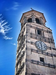 Bell tower of the Cathedral of Fossano (Piedmont, Italy) (Federico Fulcheri Photo) Tags: federicofulcheriphoto© italy piedmont fossano bell color tourism urban antique religion church tower city travel clock outdoors noperson building old sky architecture snapseed iphone7plus iphone apple