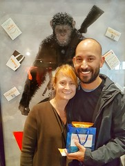 Adorable Couple Posing with Their POP Bag Filled with Yummy Treats (The Pop Bag) Tags: newyorktimes film club justins banana chip snack pack peanutbutter dip emmysorganics glutenfree vegan organic nongmo coconut cookies healthy delicious yummy tasty nutritious bandarfoods naanchips chips garlic tikkamasala himalayan pink salt fun exciting amazing warfortheplanet warfortheplanetoftheapes movie event nyc popbag thepopbag