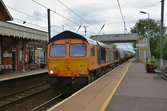 GBRf loco 66763 heads the Harwich - North Walsham tank empties, passing through Diss Station at speed. These tanks will be filled with gas condensate and return to Harwich Refiney the following day. 05 06 2017 (pnb511) Tags: trains railway norwich greateasternmainline geml class66 diesel loco locomotive freight tanks