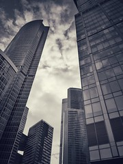 Moscow City inside towers ring (NO PHOTOGRAPHER) Tags: hochhaus gebäude cityscape skyline detail blackandwhite monochrome building outdoor architecture iphoneography iphonephotography exterier urban blue skycraper iphone 6s panorama panoramatic москва россия архитектура строительство река мост sunlight sunset light bw contrast diagonal white black abstract