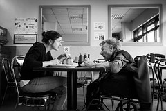East Enders (XBeauPhoto) Tags: ageing april2016 bethnalgreen eastlondon fujixt10 blackwhite cafe candid eastend eatery eating generational hackney monochromatic monochrome oldlady relatives streetphotography