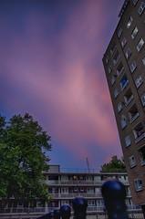 Pink Sky at Night (Chrisjbee) Tags: london uk social housing socialhousing project city urban metropolis zone1 streetphotography urbanphotography street apartmentblock tower sunset architecture scene evening dusk outdoor hdr purple blue sky
