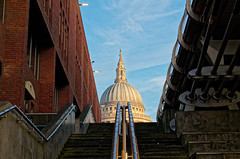 Leading to the Light (scottprice16) Tags: england london view urban city cathedral stpauls stpaulscathedral steps banister bridge millenium milleniumbridge morning light colour february winter leica leicaxvario