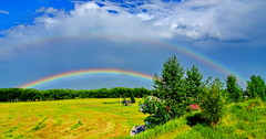 After the rainstorm: A double rainbow (peggyhr) Tags: peggyhr doublerainbow field trees sky clouds blue white green gold red fence dsc03819ab bluebirdestates alberta canada thegalaxy thegalaxystars super~sixbronze☆stage1☆ thelooklevel1red infinitexposurel2 yellow thelooklevel2yellow thehouseofimagegallery super~six☆stage2☆silver thelooklevel3orangeaddphotos thegalaxyhalloffame