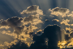 Light behind the clouds (Milen Mladenov) Tags: 2017 airy behind blue clouds cloudy light lighttrail lookingup nature sky summer sun sunlight sunset view weather yellow
