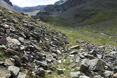 Montée au Col des Arpettes, au fond tout là-haut à gauche! (bulbocode909) Tags: valais suisse mottec zinal valdanniviers vallondebarneuza coldesarpettes montagnes nature rochers sentiers vert brume