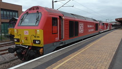 DB Cargo 67010 leaving York hauling failed Intercity 225 set with 91111 'For The Fallen' at the rear (MTSSV8 Films) Tags: db cargo virgin trains york intercity 225 67 67010 fallen