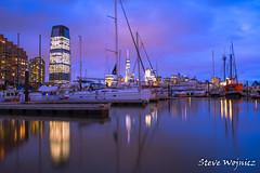 Liberty Landing Marina , Jersey City Nj (stevewojnicz) Tags: jerseycity nighttime night water marina dock boats longexposure newyork freedomtower nightlights nikon