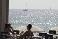 Sea View (DaveStrong) Tags: canon 5d mark 5dmarkii 5dii 5d2 5dmark2 markii mark2 2 ii 24105 24105mm 24105l 24105f4 24105mml spain barcelona summer holiday vacation sea view boat drink bar chat conversation sun sunny inside umbrella outside relax