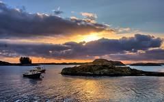 Karmøy, Norway (Vest der ute) Tags: g7x norway rogaland karmøy seascape sea water reflections boats sunset sky clouds rocks fav25 fav200