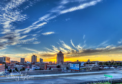 Saturday Summer Sunset Roanoke Wide Angle Lens (Terry Aldhizer) Tags: saturdays sunset summer wide angle lens city roanoke buildings sky mountains blue ridge virginia clouds terry aldhizer wwwterryaldhizercom hotel church saint andrews taubman bank wells fargo bbt