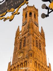 _3110480 (Eric Santucci) Tags: bruges brügge belgium belfort belfry medieval halletoren towerofhalls tower marketsquare markt architecture building evening light warm historical grandplace octagonal stmichael