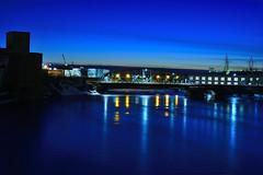 The Blue Reflection. (Photolove2017) Tags: nikondx d7100 photolove2017 tiaphoto bridge bluehour booth street sky ottawagatineau ottawariver interprovincial blue reflection lights chaudier dam canada