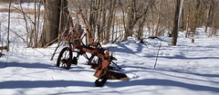 Abandoned farm implement - Scotsdale Farm, Halton Hills, Ontario. (edk7) Tags: nikond50 edk7 2007 canada ontario haltonregion haltonhills scotsdalefarm rust farm implement abandoned relic winter landscape snow tree shadow rural country countryside mechanical machine vintage
