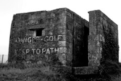 Danger - Golf! (zawtowers) Tags: cornwall kernow summer holiday break vacation july 2017 carbisbay porth reb tor lelant lannanta south west coast path walk late afternoon rainy wednesday 19th danger golf warning former lookout post black white monochrome mono