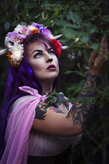 Above the Trees (Sintar) Tags: faun fae fantasy fantasymodel fantasyshoot fantasyphotography amportunephotography pentax antlers headpiece flowers beauty green