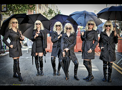 Surrounded by Atomic Blondes at San Diego Comic Con International 2017 (Sam Antonio Photography) Tags: atomicblondemoviepromotion long hair atomic mystery miniskirt lifestyle black beautiful blond blonde caucasian sensual trenchcoat umbrella sandiegocomiccon street samantoniophotography women female charlize theron streetphotography hollywood action sunglasses spy thriller