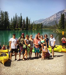 Absolutely perfect day for some canoeing through the Rocky Mountains today! (Samesun Backpacker Hostels) Tags: mountains view river canada alberta banff samesunbanff samesunhostel