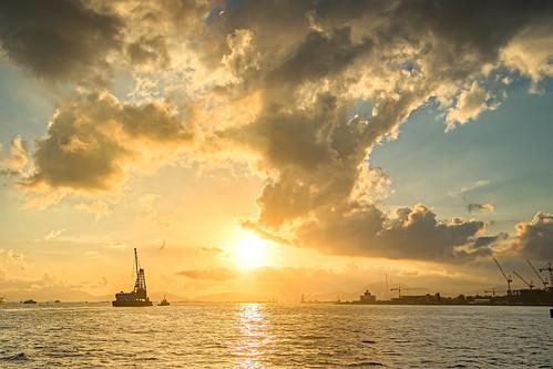 Sunset at Victoria Harbour, Hong Kong