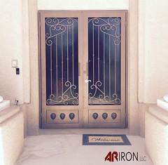 "Custom rod iron security screen door. #arironllc #ornamentaliron #powdercoating • <a style=""font-size:0.8em;"" href=""http://www.flickr.com/photos/113341785@N07/35077721783/"" target=""_blank"">View on Flickr</a>"