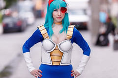 ComicCon-2017_The-DragonBall_003 (Besisika) Tags: cosplay cosplayer dragon ball 2017 comiccon comic con manga costume anime street travel lady girl woman palais de congres montreal canada canon 135mm f2 blue cyan personage outdoor ocf offcamera flash strobe godox ad600 color matching convention people portrait