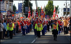 Orangemen's Day (* RICHARD M (Over 6 million views)) Tags: street candid orangelodge loyalorangelodge orangeorder lol orangemensday marchingband marching marches marchers parade flags band bandsmen musicians southport sefton merseyside crowds 12thjuly july summer summertime sunnysouthport hivizjackets unionjack unionflag stgeorgesflag uniforms loyalorangeinstitution sectarianism