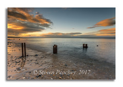 Groynes At Sunset (Steven Peachey) Tags: seascape sunset sun sky clouds beach coast seaham coastline northeastcoast northeastengland ef1740mmf4l canon6d lee09gnd canon stevenpeachey lightroom groynes