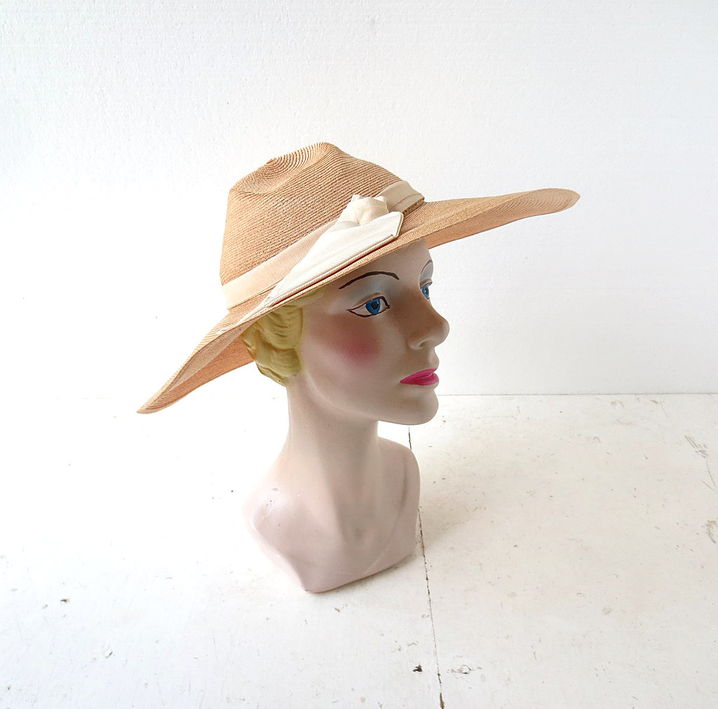 3d880179 1940s wide brim straw hat with grosgrain ribbon (Small Earth Vintage) Tags:  smallearthvintage